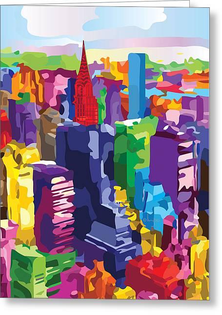 New York, Manhattan Greeting Card by Inge Lewis