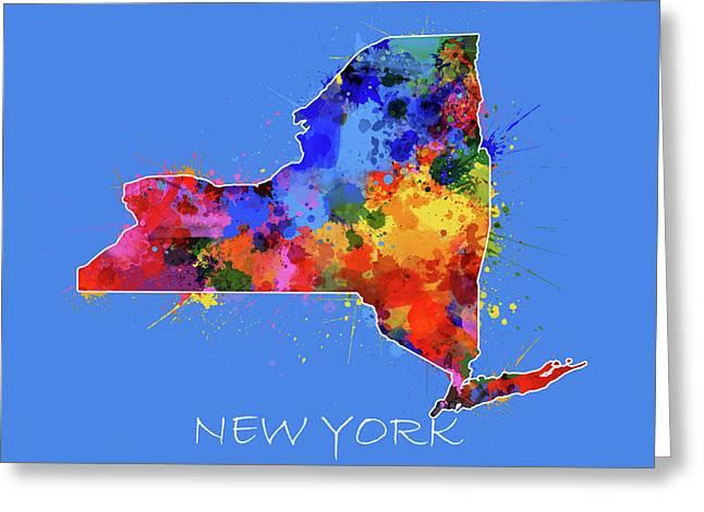 New York Map Color Splatter 3 Greeting Card