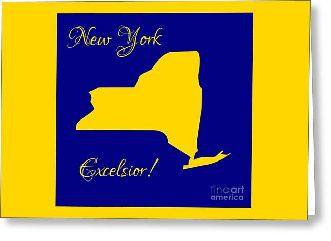 New York Map In State Colors Blue And Gold With State Motto Excelsior Greeting Card by Rose Santuci-Sofranko