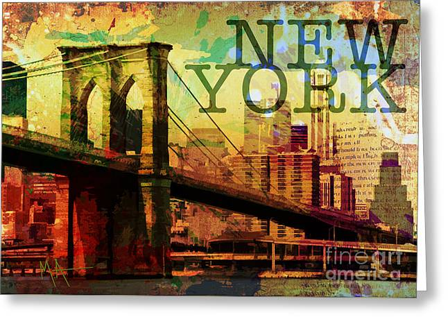New York Greeting Card by Maria Arango