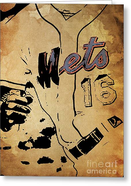 New York Mets 16 Red And Blue Vintage Cards On Brown Background Greeting Card by Pablo Franchi