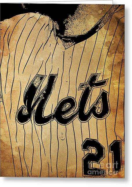 New York Mets 21 Red And Blue Vintage Cards On Brown Background Greeting Card by Pablo Franchi