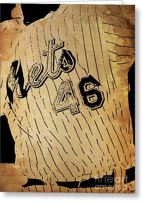 New York Mets 46 Red And Blue Vintage Cards On Brown Background Greeting Card by Pablo Franchi