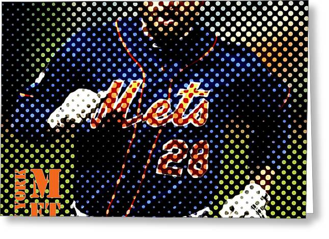 New York Mets Dots News Greeting Card by Pablo Franchi