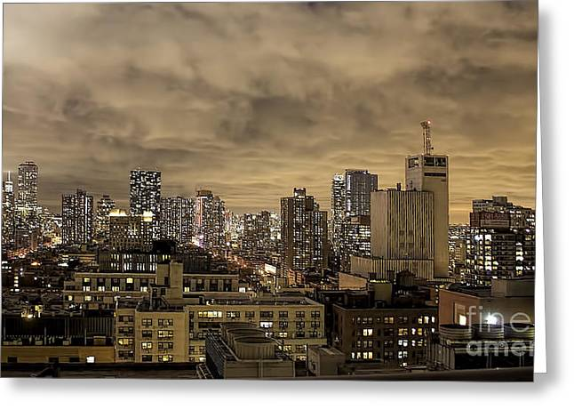 New York Moody Evening Greeting Card by Luther Fine Art