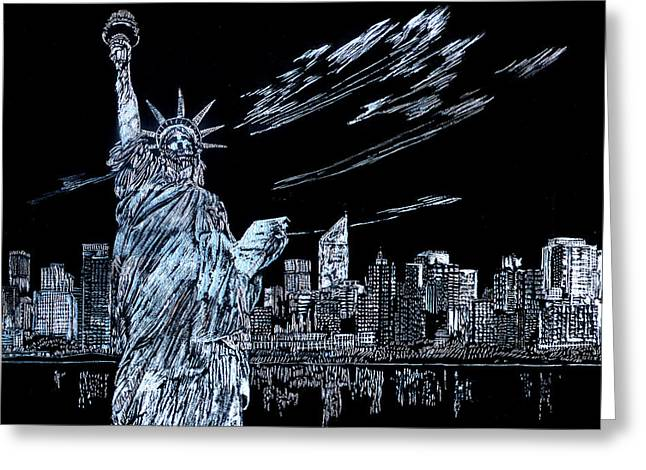 Greeting Card featuring the drawing New York New York New York  by Saad Hasnain