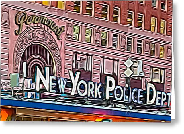 New York Police At Paramount Greeting Card by Terry Weaver