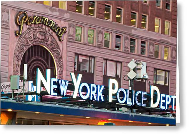New York Police Times Square Greeting Card by Terry Weaver