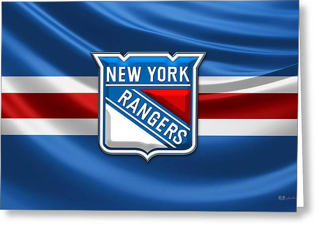 New York Rangers - 3d Badge Over Flag Greeting Card by Serge Averbukh