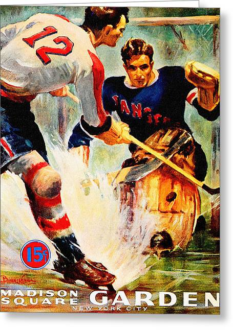 New York Rangers Vintage Three Poster Greeting Card by Big 88 Artworks