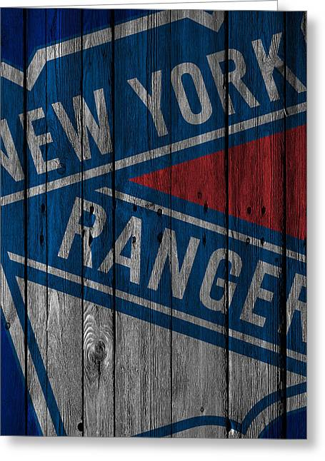 New York Rangers Wood Fence Greeting Card by Joe Hamilton