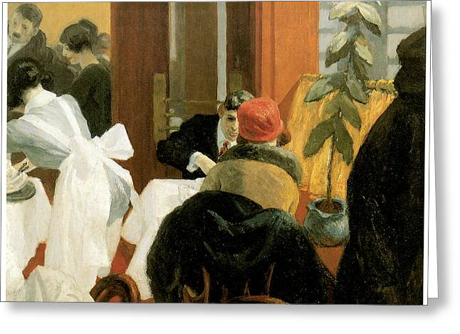 New York Restaurant Greeting Card by Edward Hopper