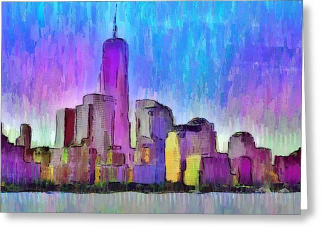 New York Skyline 2 - Pa Greeting Card by Leonardo Digenio