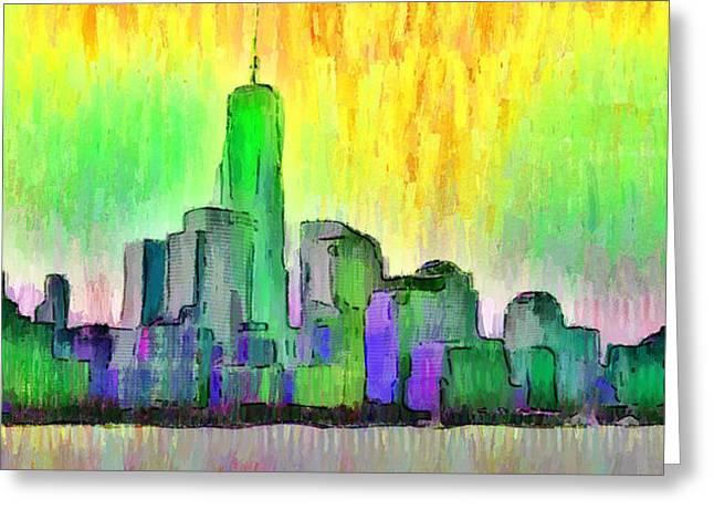 New York Skyline 5 - Da Greeting Card by Leonardo Digenio