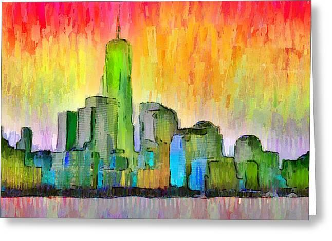 New York Skyline 6 - Da Greeting Card by Leonardo Digenio