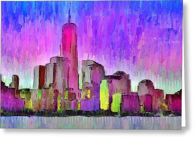 New York Skyline 7 - Da Greeting Card by Leonardo Digenio