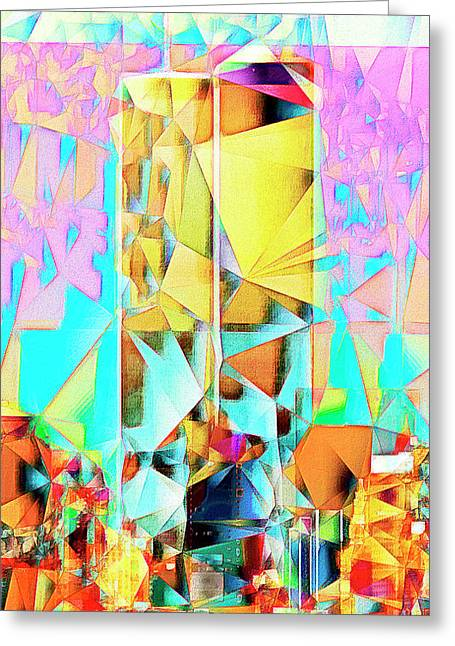 Greeting Card featuring the photograph New York Skyline 911 Twin World Trade Center In Abstract Cubism 20170326 by Wingsdomain Art and Photography