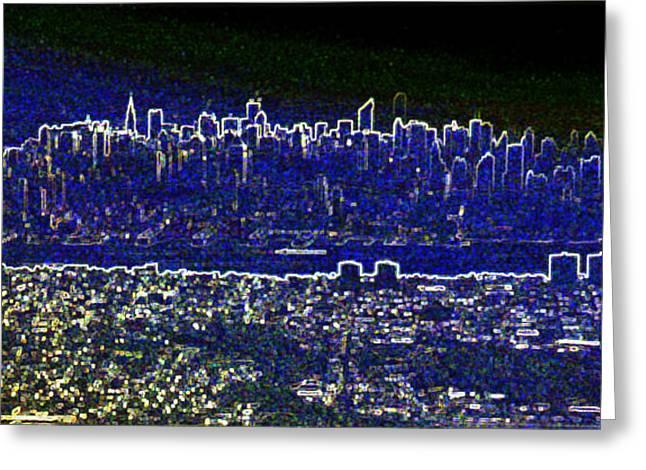 New York Skyline Abstract Greeting Card by Robert Ponzoni
