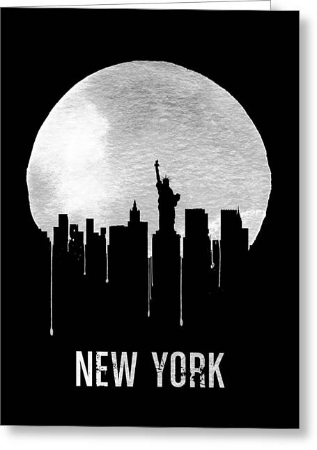 New York Skyline Black Greeting Card