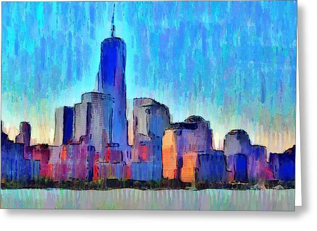 New York Skyline - Da Greeting Card by Leonardo Digenio