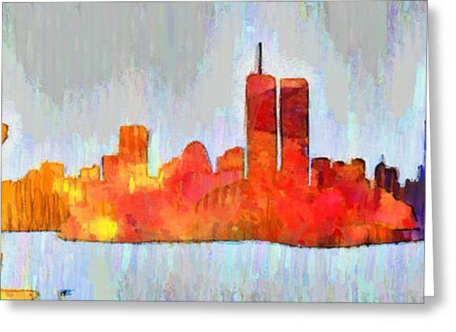 New York Skyline Old Shapes 3 - Da Greeting Card by Leonardo Digenio