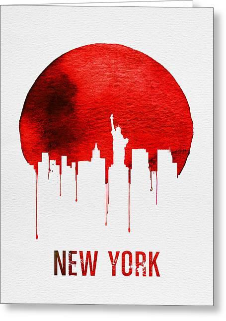 New York Skyline Red Greeting Card
