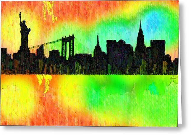 New York Skyline Silhouette Colorful - Da Greeting Card by Leonardo Digenio