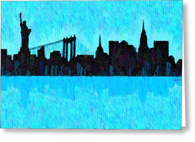 New York Skyline Silhouette Cyan - Da Greeting Card by Leonardo Digenio