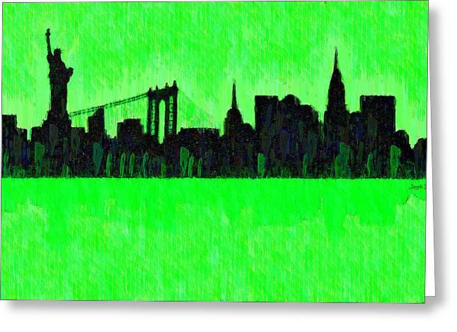 New York Skyline Silhouette Green - Da Greeting Card by Leonardo Digenio