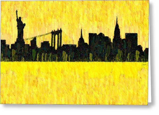 New York Skyline Silhouette Orange - Da Greeting Card by Leonardo Digenio