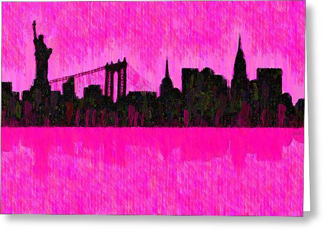 New York Skyline Silhouette Pink - Da Greeting Card by Leonardo Digenio