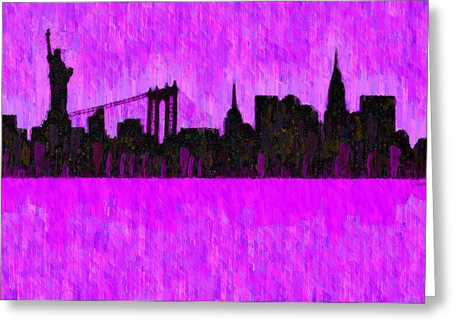 New York Skyline Silhouette Purple - Pa Greeting Card by Leonardo Digenio