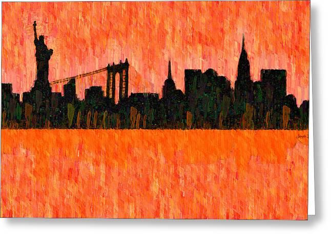 New York Skyline Silhouette Red - Da Greeting Card by Leonardo Digenio