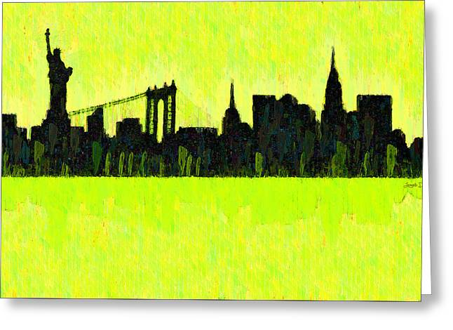 New York Skyline Silhouette Yellow-green - Pa Greeting Card