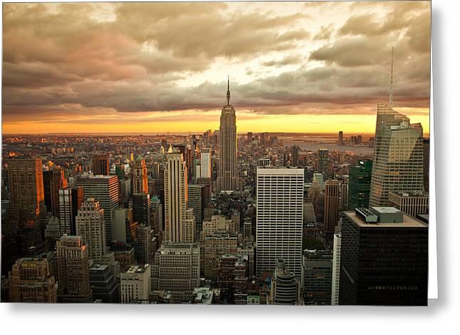 New York Skyline Sunset Greeting Card
