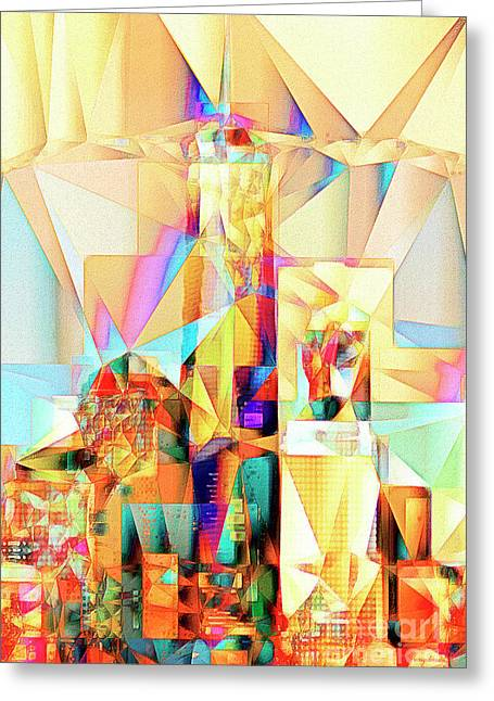 Greeting Card featuring the photograph New York Skyline World Trade Center In Abstract Cubism 20170326 by Wingsdomain Art and Photography