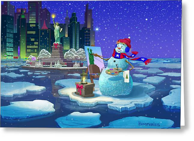 New York Snowman Greeting Card by Michael Humphries