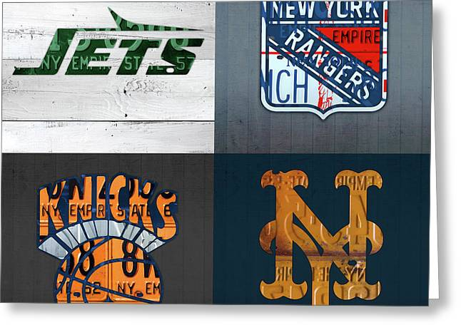 New York Sports Team License Plate Art Collage Jets Rangers Knicks Mets V2 Greeting Card by Design Turnpike