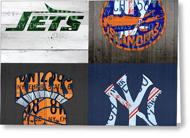 New York Sports Team Logo License Plate Art Jets Islanders Knicks Yankees V5 Greeting Card by Design Turnpike