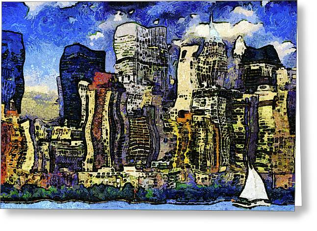New York Stary Night Expressionism Greeting Card by Georgiana Romanovna