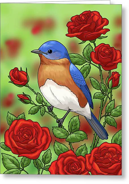 New York State Bluebird And Rose Greeting Card