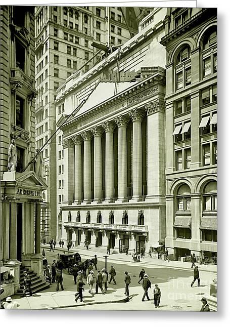 New York Stock Exchange Under Construction 1903 Greeting Card by Jon Neidert
