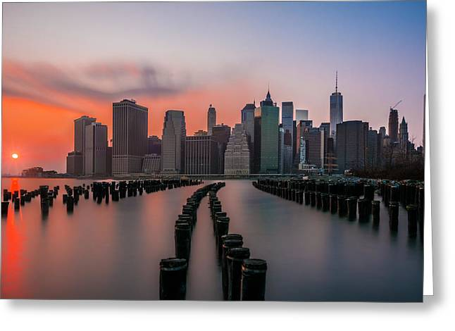 Greeting Card featuring the photograph New York Sunset by RC Pics