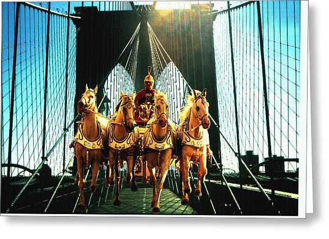 New York Time Machine - Fantasy Art Collage Greeting Card by Art America Gallery Peter Potter