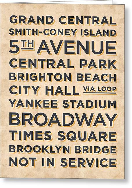 New York Train Stations Retro Vintage - Black On Cream Greeting Card
