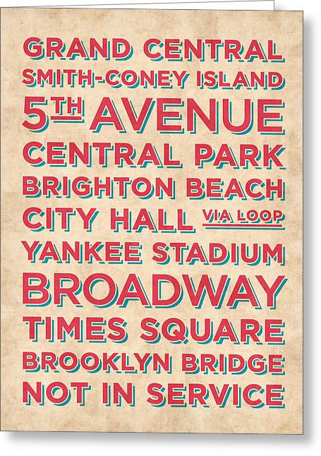 New York Train Stations Retro Vintage - Red On Cream Greeting Card