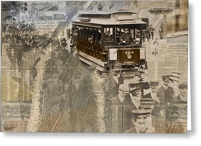 New York Trolley Vintage Photo Collage Greeting Card by Karla Beatty