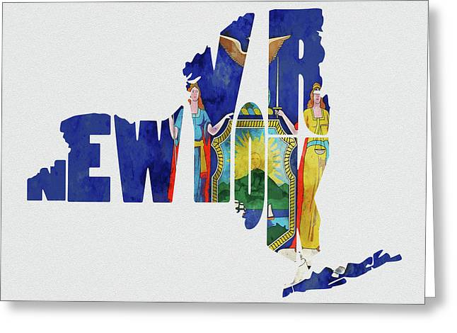 New York Typography Map Flag Greeting Card