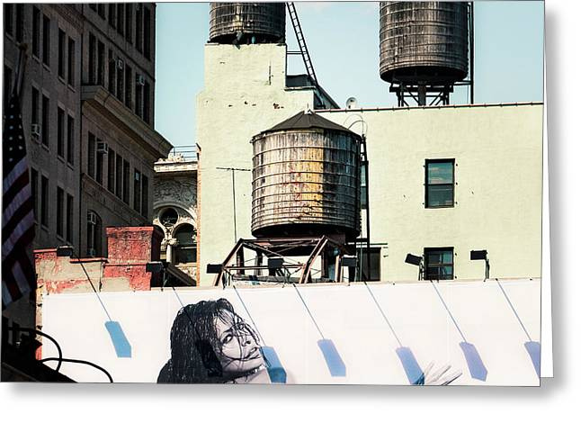 Greeting Card featuring the photograph New York Water Towers 15 by Gary Heller