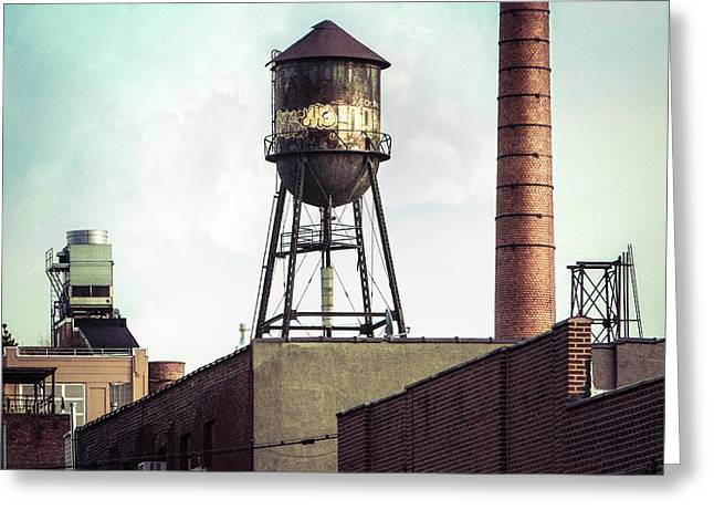 Greeting Card featuring the photograph New York Water Towers 19 - Urban Industrial Art Photography by Gary Heller